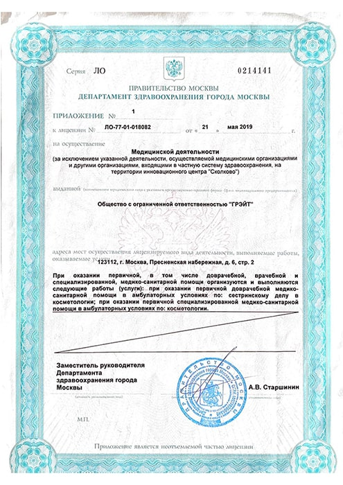 Приложение к лицензии по лазерной эпиляции